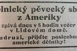 Pozvánka na koncert Českého dělnického pěveckého sboru Lyra z Chicaga otištěná v sociálnědemokratickém deníku Duch času.