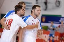 Futsalista Michal Seidler slaví gól za českou reprezentaci.