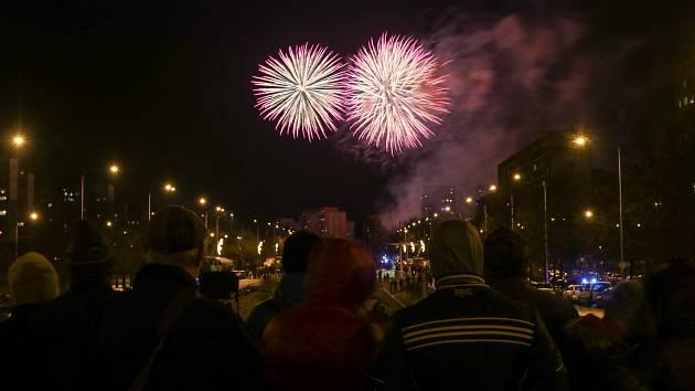 Novoroční ohňostroj v Ostravě-Jihu, 1. ledna 2019 v Ostravě.
