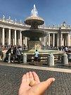 V kašně ve Vatikánu skončil i kamínek, který s dvojicí putoval z Česka až do Itálie..