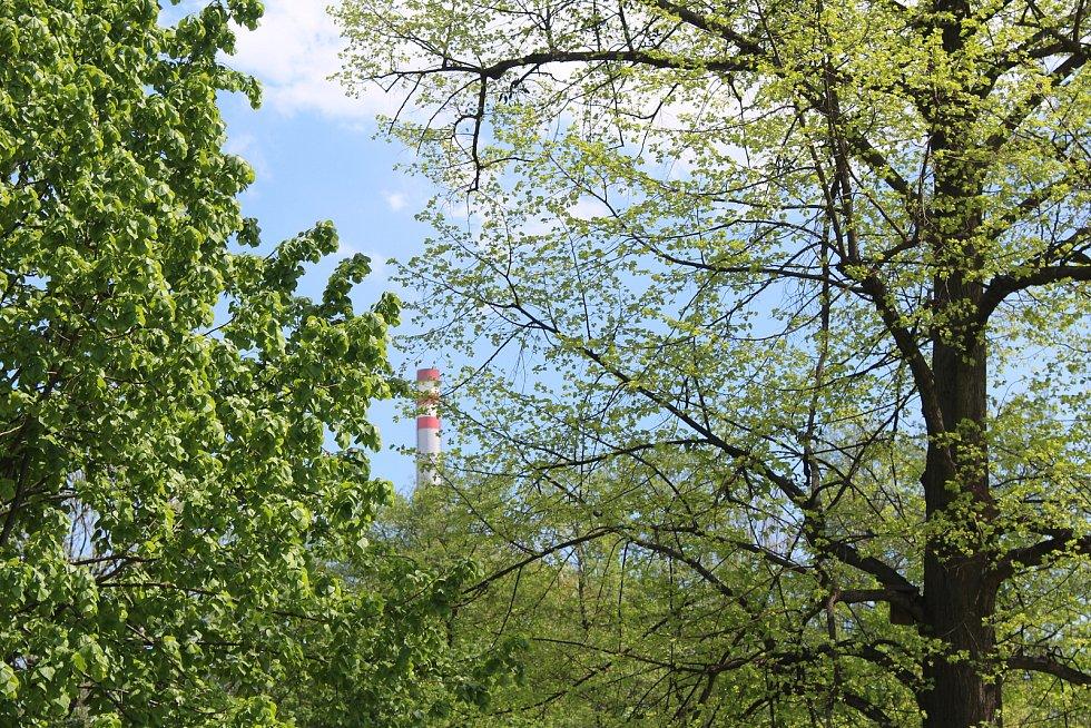 Usedlíkům v Ostravě-Kunčicích se nelíbí záměr výstavby skladovací haly a kácení toho mála lesního porostu (na snímku komíny nedaleké huti), který v okolí je. Obávají se také zvýšení frekvence nákladní dopravy a skladování stavebního materiálu.