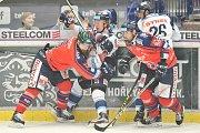 Utkání 52. kola hokejové extraligy: HC Vítkovice Ridera - HC HC Bílí Tygři Liberec, 4. března 2018 v Ostravě. (zleva) Výtisk Jan, Jašek Lukáš, Lev Jakub a Jelínek Petr.