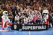 Superfinále play off florbalové superligy žen: 1. SC Tempish Vítkovice - Fetpipe Florbal Chodov, 14. dubna 2019 v Ostravě. Na snímku team Chodova.