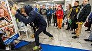 Olympijský festival v Ostravě, stan deníku, běžecký simulátor, 16. února