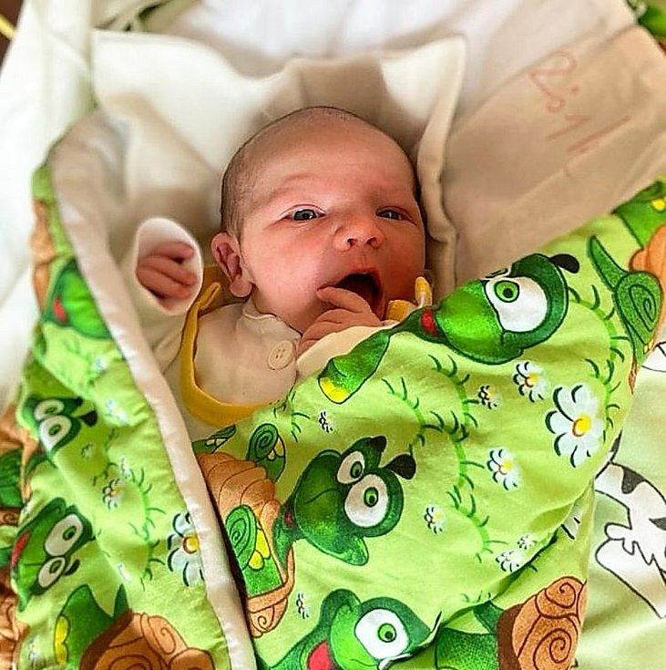 Robin Pecha, Kravaře, narozen 7. dubna 2021 v Opavě, míra 50 cm, váha 3100 g. Foto: Tereza Fridrichová