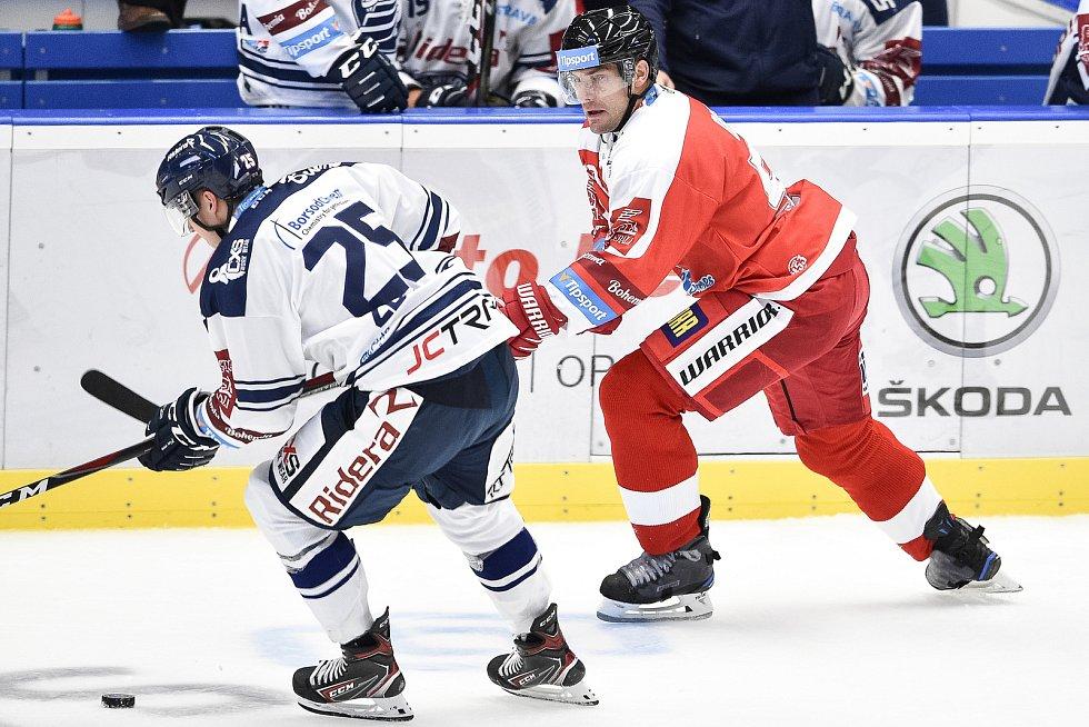 Utkání 1. kola hokejové extraligy: HC Vítkovice Ridera - HC Olomouc, 13. září v Ostravě. Na snímku (zleva) Patrik Zdráhal a Rostislav Olesz.