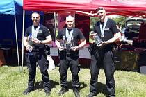 Vítězný tým ostravských strážníků. Zleva Oldřich Dunaj, Pavel Burda a Petr Vlček.