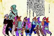 Válečná atmosféra očima desetiletých Japonek. Na obrázku mají děti papírové čepice, o kterých si myslely, že je ochrání před bombardováním.