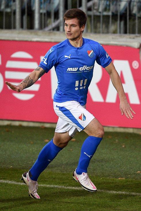 Utkání 10. kola první fotbalové ligy: SFC Opava - FC Baník Ostrava, 5. prosince 2020 v Opavě. Jaroslav Svozil z Ostravy se raduje z gólu.