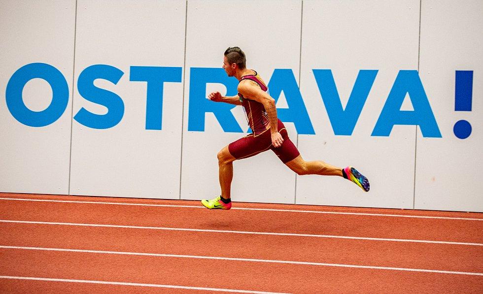 Halové mistrovství ČR mužů a žen v atletice, 23. února 2020 v Ostravě. 400 metrů muži Pavel Maslák (TJ Dukla Praha).