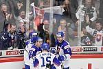Mistrovství světa hokejistů do 20 let, skupina A: Slovensko - Kazachstán, 27. prosince 2019 v Třinci. Na snímku (zleva) radost hráčů Slovenska (David Mudrak, Robert Dzugan a Martin Vitalos, Jakub Minarik).