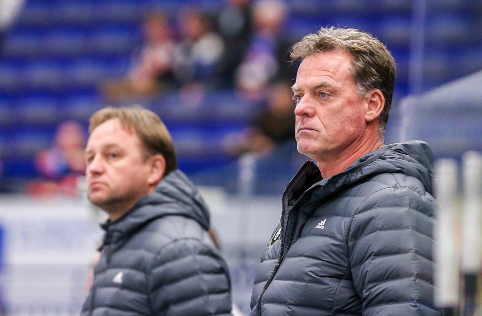 Předehrávka 42. kola hokejové extraligy: HC Vítkovice Ridera - BK Mladá Boleslav, 4. prosince 2018 v Ostravě. Na snímku (zleva) Pavel Patera a Miloslav Hořava
