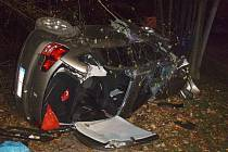 Vážná dopravní nehoda v Ostravě-Porubě. Auto se po nárazu do stromu převrátilo na bok. Uvnitř zůstal zaklíněný řidič.
