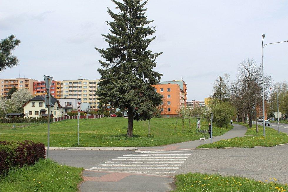 Pustkovec dělí na třetiny dvě velké dopravní teplny - Opavská ulice a ulice 17. listopadu (na snímku v pravé části).