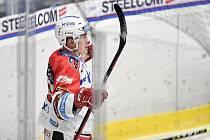 Utkání 24. kola hokejové extraligy: HC Vítkovice Ridera - HC Dynamo Pardubice, 4. prosince 2020 v Ostravě. Matěj Blumel z Pardubic.