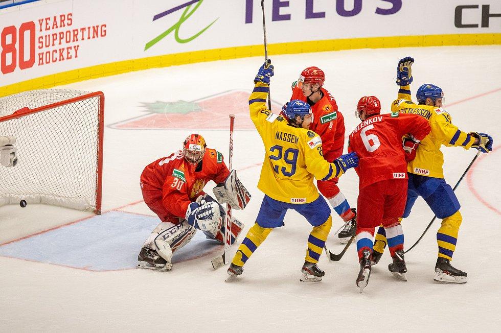 Mistrovství světa hokejistů do 20 let, semifinále: Švédsko - Rusko, 4. ledna 2020 v Ostravě. Na snímku (zleva) brankář Ruska Russia Yaroslav Askarov, Linus Nassen (SWE), Yegor Zamula (RUS), Danil Pylenkov (RUS), David Gustafsson (SWE).