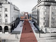 Vizualizace Umělecké ulice mezi Domem umění a palácem Elektra.