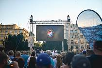 Fotbalový Baník slaví výročí (8. 9. 2021, Prokešovo náměstí v Ostravě).