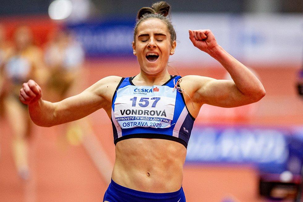 Halové mistrovství ČR mužů a žen v atletice, 23. února 2020 v Ostravě. 400 metrů ženy Lada Vondrová (Hvězda Pardubice).
