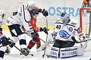 Utkání 4. kola hokejové extraligy: HC Vítkovice Ridera - HC Škoda Plzeň, 23. září 2018 v Ostravě. Na snímku (zleva) Čerešňák Peter, Schleiss Jan a Miltchakov Mitja Dmitri.