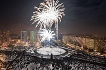 Tradiční novoroční ohňostroj v Ostravě-Jihu.