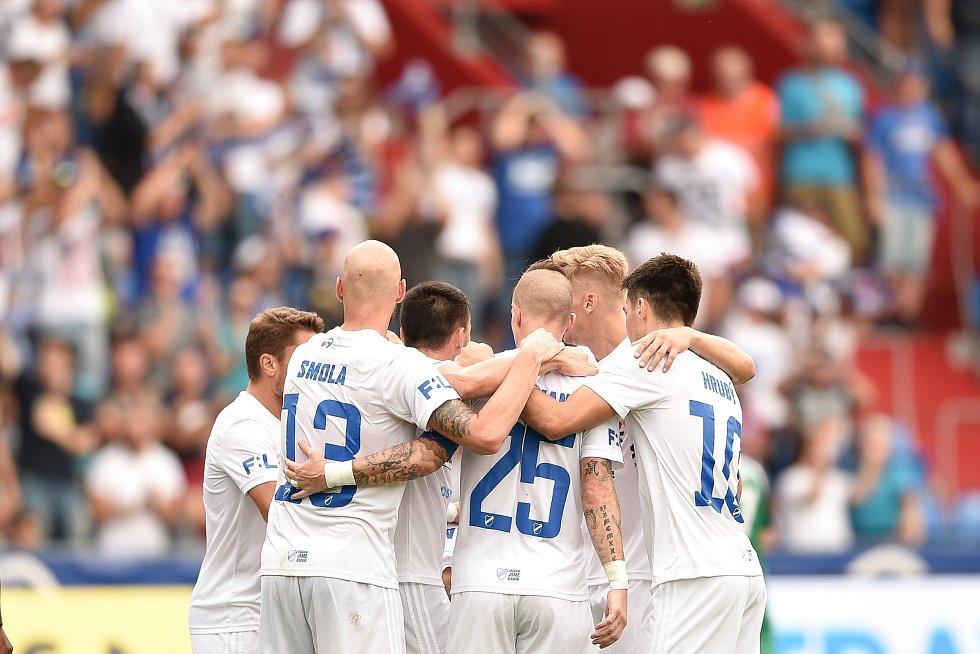 Utkání 5. kola první fotbalové ligy: FC Baník Ostrava - Bohemians 1905 , 10. srpna 2019 v Ostravě. Na snímku radost Baníku.