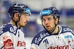 Utkání 39. kola hokejové extraligy: HC Vítkovice Ridera - Mountfield Hradec Králové, 24. ledna 2020 v Ostravě. Na snímku (zleva) Dominik Lakatoš, Roberts Bukarts.