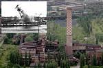 Komín Strakáč ve Vítkovicích čeká stejný osud jako těžní věž Dolu Šalamoun na vložením snímku z roku 1974.