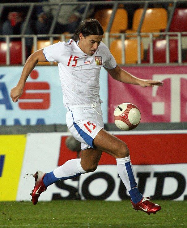Milan Baroš během reprezentačního přátelského zápasu s Dánskem.