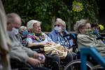 """Projekt ,,Spolu to zvládneme"""". Koncert pod okny pro seniory v domově Kamenec, 10. května 2020."""