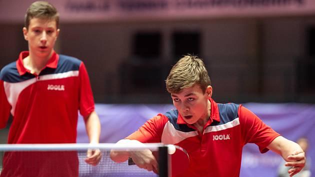 Mistrovství Evropy juniorů ve stolním tenise  8. července 2019 v Ostravě. Na snímku Bělík Šimon a Kadlec Vít.