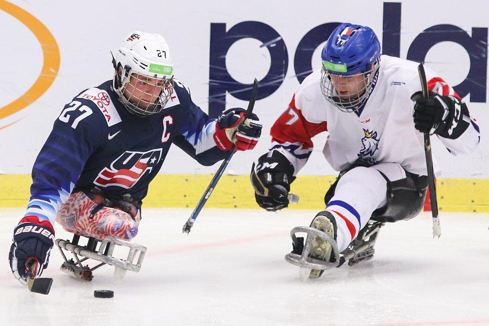 Mistrovství světa v para hokeji 2019, 3. května 2019 v Ostravě. Na snímku (zleva) Pauls Josh (USA), Palat David (CZE).