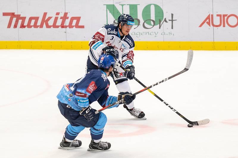 Utkání 17. kola hokejové extraligy: HC Vítkovice Ridera - Rytíři Kladno, 3. listopadu 2019 v Ostravě. Na snímku zleva Štěpán Bláha, Daniel Krenželok.