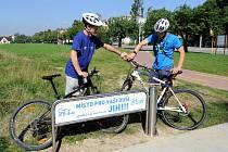 Místo v Ostravě-Zábřehu, kde si zájemci mohou přifouknout duši na kole.
