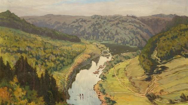 JAROSLAV PANUŠKA: Řeka v údolí, olej (výřez obrazu). Z výstavy Česká krajina, která začíná příští týden v Ostravě