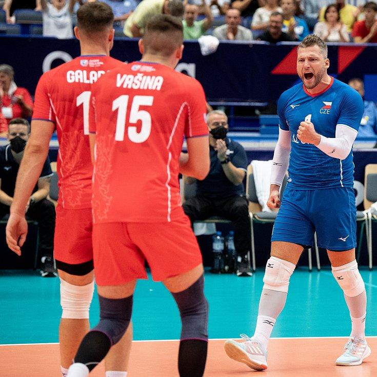 Utkání skupiny B mistrovství Evropy volejbalistů: ČR - Itálie, 9. září 2021 v Ostravě. (vpravo) Milan Moník z ČR.