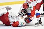 Mistrovství světa hokejistů do 20 let, finále: Rusko - Kanada, 5. ledna 2020 v Ostravě. Na snímku (zleva) brankář Ruska Amir Miftakhov a Alexander Romanov.