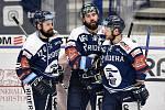 Utkání 15. kola hokejové extraligy: HC Vítkovice Ridera - Mountfield Hradec Králové, 9. listopadu 2020 v Ostravě. (zleva) Rostislav Marosz z Vítkovic, Roman Polák z Vítkovic a Jan Štencel z Vítkovic.