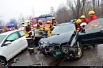 Nehoda s vyproštěním v Radvanicích.