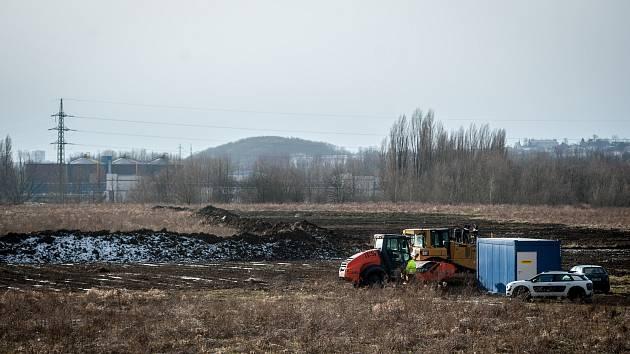 Zahájení přípravy stavební práce. Outletové centrum v Ostravě by mělo být otevřeno na podzim. Snímek z 18. ledna 2018.
