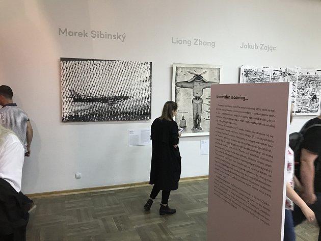 """Grafika Marka Sibinského """"Above"""" na mezinárodním trienále grafiky v Krakově."""
