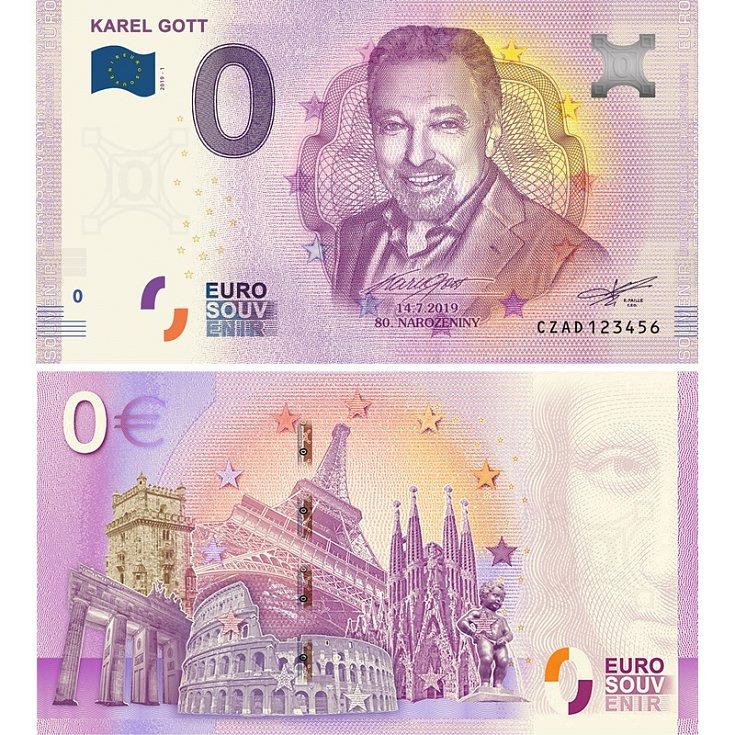 KAREL GOTT - suvenýrová eurobankovka, vydání roku 2019.