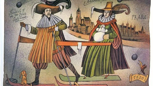 Jedna z grafik Adolfa Borna: Útěk zimního krále