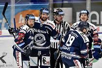 Utkání 41. kola hokejové extraligy: HC Vítkovice Ridera - PSG Berani Zlín, 28. ledna 2020 v Ostravě. Na snímku radost Vítkovic (Blaž Gregorc, Jan Štencel).