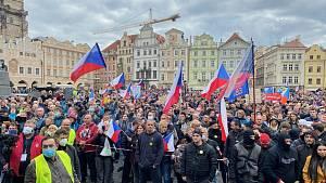 Demonstrace Praha, Staroměstské náměstí, 18. října 2020