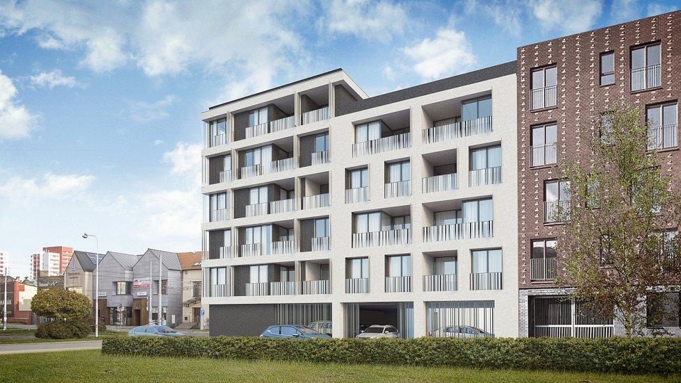 Vizualizace nového bytového domu na Janáčkově ulici v centru Ostravy.