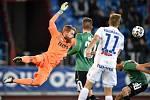 Utkání 22. kola první fotbalové ligy: Baník Ostrava - FK Jablonec, 24. února 2020 v Ostravě. Zleva brankář Jablonce Vlastimil Hrubý.