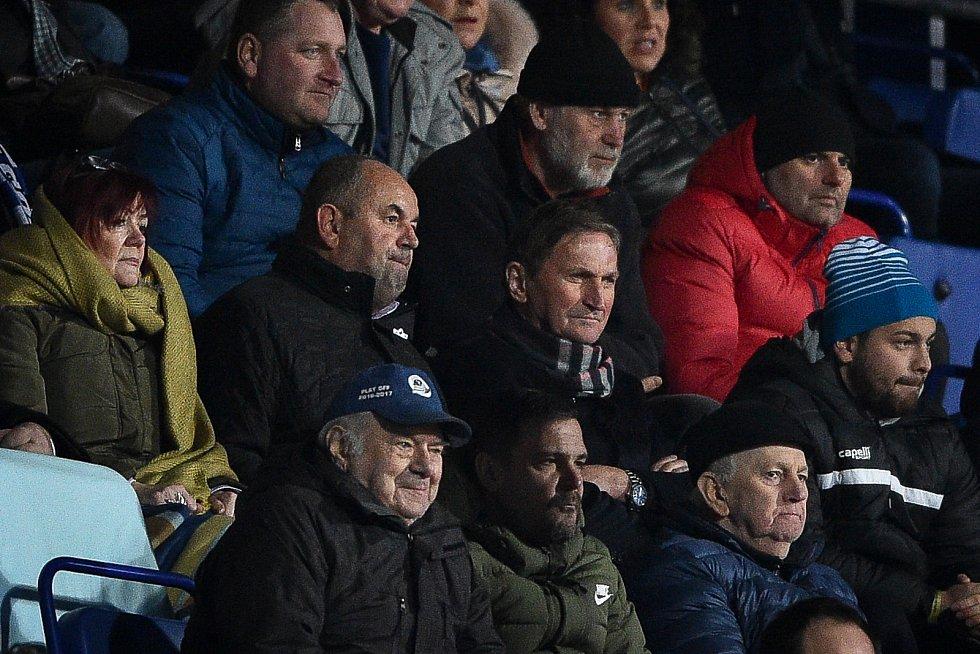 Utkání 22. kola první fotbalové ligy: Baník Ostrava - FK Jablonec, 24. února 2020 v Ostravě. Zleva Miroslav Pelta a Alois Hadamczik.