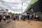 Utkání 1. kola fotbalové Fortuna ligy: MFK Karviná - FC Baník Ostrava, 23. srpna 2020 v Karviné. Fanoušci Baníku Ostrava.