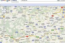 Na internetovém plánovači tras Google Map stále chybí některé úseky dálnic D1, například mezi Bělotínem a Bílovcem.